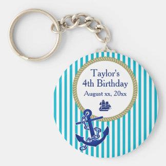 Fiesta de cumpleaños personalizada náutica llavero redondo tipo pin