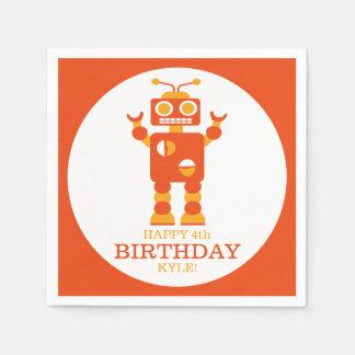 Fiesta de cumpleaños personalizada robot servilleta de papel