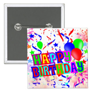fiesta de cumpleaños pin cuadrada 5 cm