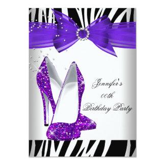 """Fiesta de cumpleaños púrpura caliente del negro invitación 4.5"""" x 6.25"""""""