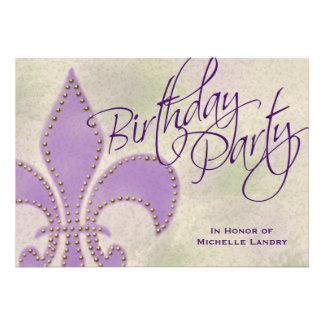 Fiesta de cumpleaños púrpura de la flor de lis del