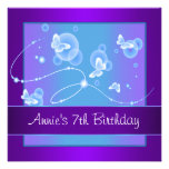 Fiesta de cumpleaños púrpura de la mariposa