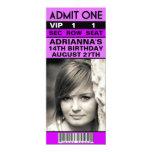 Fiesta de cumpleaños púrpura del boleto de la foto invitación 10,1 x 23,5 cm