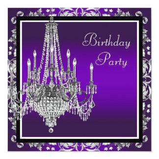 """Fiesta de cumpleaños púrpura del damasco de la invitación 5.25"""" x 5.25"""""""