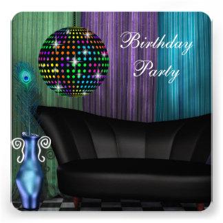 Fiesta de cumpleaños púrpura del disco de la bola anuncios personalizados