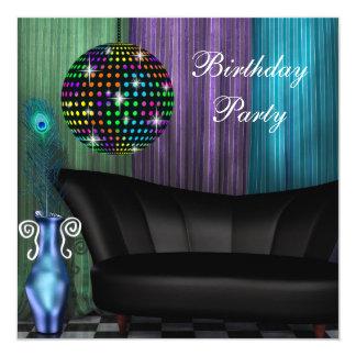 """Fiesta de cumpleaños púrpura del disco de la bola invitación 5.25"""" x 5.25"""""""