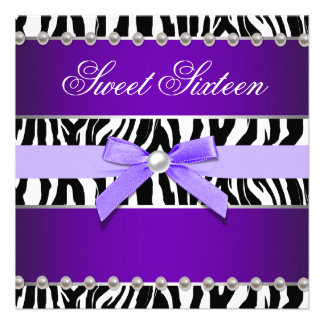 Fiesta de cumpleaños púrpura del dulce 16 de la ce invitaciones personales