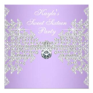 Fiesta de cumpleaños púrpura del dulce 16 de la invitación 13,3 cm x 13,3cm
