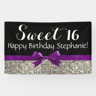 Fiesta de cumpleaños púrpura del dulce 16 del lona