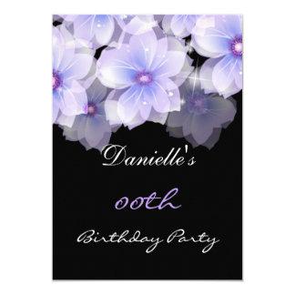 """Fiesta de cumpleaños púrpura del negro de la lila invitación 5"""" x 7"""""""