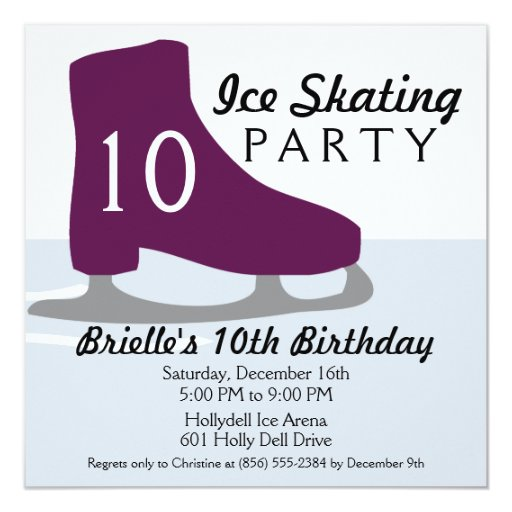 """Fiesta de cumpleaños púrpura del patinaje de hielo invitación 5.25"""" x 5.25"""""""