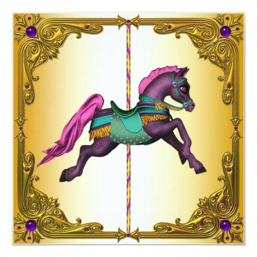 Fiesta de cumpleaños púrpura del potro del caballo invitación personalizada