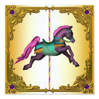 """Fiesta de cumpleaños púrpura del potro del caballo invitación 5.25"""" x 5.25"""""""