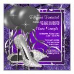 Fiesta de cumpleaños púrpura elegante de los invitaciones personalizada