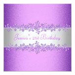 Fiesta de cumpleaños púrpura elegante de los rosas anuncios