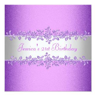 Fiesta de cumpleaños púrpura elegante de los rosas invitación 13,3 cm x 13,3cm