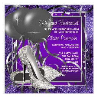 Fiesta de cumpleaños púrpura elegante de los tacon invitaciones personalizada