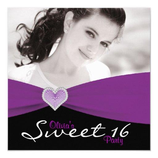 "Fiesta de cumpleaños púrpura negra púrpura de la invitación 5.25"" x 5.25"""