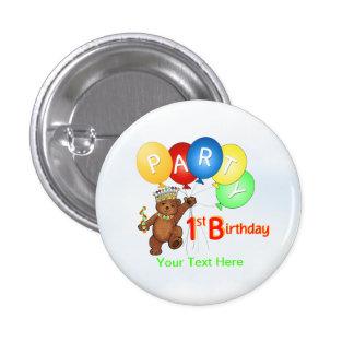 Fiesta de cumpleaños real del oso de peluche 1ra pin redondo de 1 pulgada