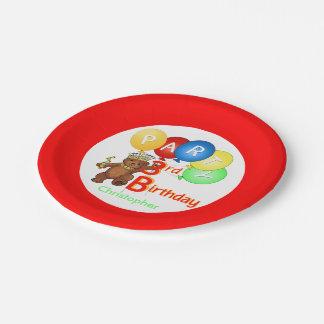 Fiesta de cumpleaños real del oso de peluche 3ro plato de papel de 7 pulgadas