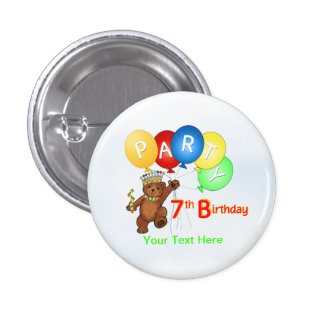 Fiesta de cumpleaños real del oso de peluche 7ma pin redondo de 1 pulgada