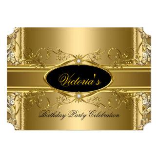 Fiesta de cumpleaños real elegante del negro del invitaciones personalizada
