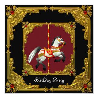 """Fiesta de cumpleaños real negra roja del oro del invitación 5.25"""" x 5.25"""""""