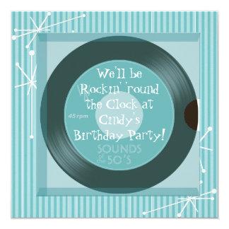"""fiesta de cumpleaños retra de los años 50 invitación 5.25"""" x 5.25"""""""
