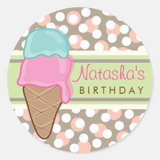 Fiesta de cumpleaños retra del helado de la menta pegatina redonda