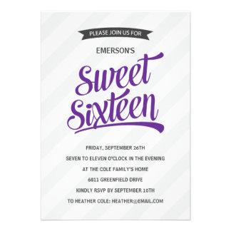Fiesta de cumpleaños retra linda del dulce diecisé invitación personalizada