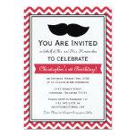 Fiesta de cumpleaños roja de Chevron del bigote Anuncio Personalizado