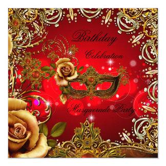 """Fiesta de cumpleaños roja de la máscara del oro de invitación 5.25"""" x 5.25"""""""