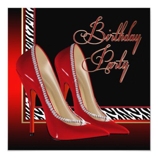 """Fiesta de cumpleaños roja de los tacones altos de invitación 5.25"""" x 5.25"""""""