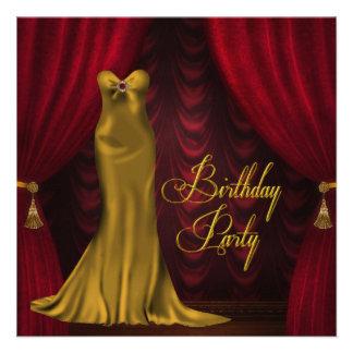 Fiesta de cumpleaños roja de rubíes del art déco d invitacion personalizada