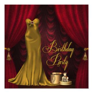Fiesta de cumpleaños roja de rubíes del oro de la invitación 13,3 cm x 13,3cm