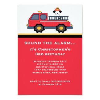 Fiesta de cumpleaños roja del coche de bomberos anuncios personalizados