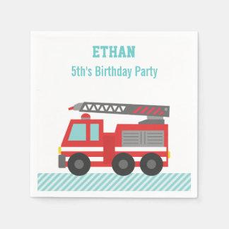 Fiesta de cumpleaños roja del coche de bomberos servilletas desechables