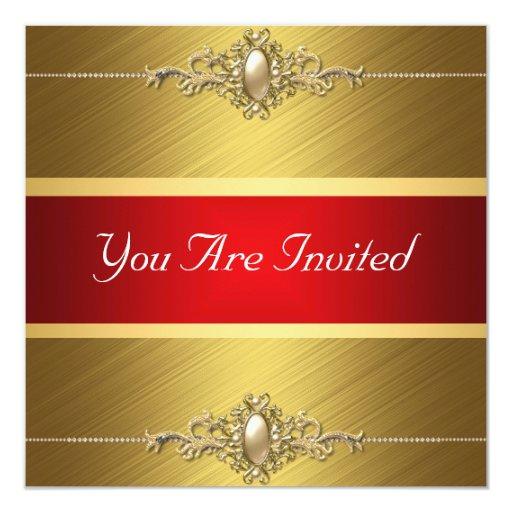 """Fiesta de cumpleaños roja del color oro invitación 5.25"""" x 5.25"""""""
