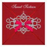 Fiesta de cumpleaños roja del dulce 16 del diamant invitación personalizada