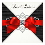 Fiesta de cumpleaños roja del dulce 16 del negro b invitación personalizada