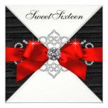 Fiesta de cumpleaños roja del dulce 16 del negro invitación personalizada