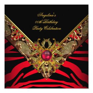 """Fiesta de cumpleaños roja del oro de la cebra con invitación 5.25"""" x 5.25"""""""