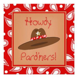 Fiesta de cumpleaños roja del pañuelo de Paisley d Invitacion Personal