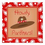 Fiesta de cumpleaños roja del pañuelo de Paisley Invitacion Personal