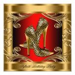 Fiesta de cumpleaños roja elegante del negro y del anuncios personalizados