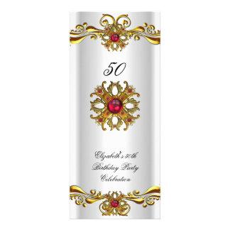 Fiesta de cumpleaños roja elegante del oro blanco comunicados personalizados