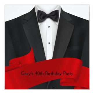 """Fiesta de cumpleaños roja negra para hombre del invitación 5.25"""" x 5.25"""""""