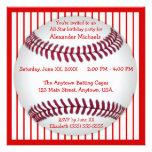 Fiesta de cumpleaños roja y blanca del béisbol de  comunicado personal