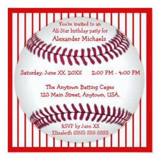 """Fiesta de cumpleaños roja y blanca del béisbol de invitación 5.25"""" x 5.25"""""""
