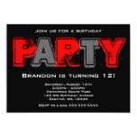 Fiesta de cumpleaños roja y gris del Grunge Invitaciones Personalizada